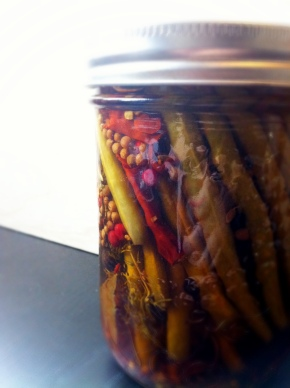 Ceasar Recipe Featuring, Spicy Bourbon Pickled Green Beans